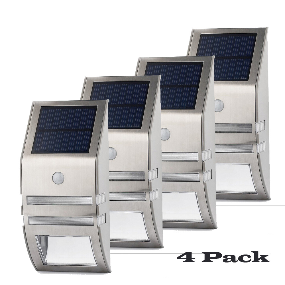 4 Sets LED Solar Light PIR Motion Sensor Wall Light Outdoor Energy Saving Street Garden Yard Security  Waterproof Solar Lamps