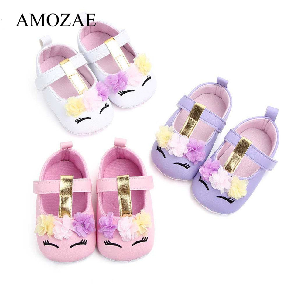 2020 New Arrival Toddler Baby Girls Flower Unicorn Shoes PU Leather Shoes Soft Sole Crib Shoes Spring Autumn First Walkers 0-18M