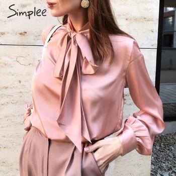 Simplee Casual pink long sleeve women blouse, Summer spring neck tie blouses Elegant work wear loose female solid top 1