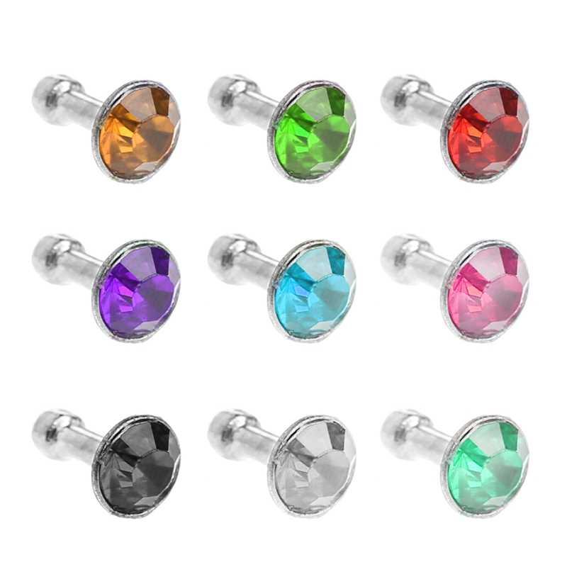 Redondo brillante diamante de imitación 3,5mm Anti polvo enchufe auricular tapón para teléfono inteligente 1014