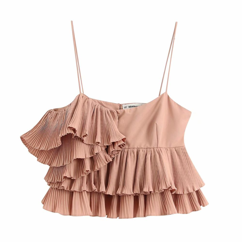 Women Sexy Pleated Ruffles Spaghetti Strap Blouse Ladies Double Layer Solid Color Chic Femininas Sling Shirts Brand Tops LS6373