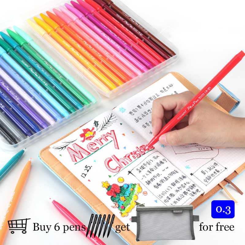 Korea Monami 3000 Felt Tip Drawing Pen 0.3 Mm Watercolor Pen Fineliner Scrapbook Color Ink Design Pen Cute Stationary Kawaii