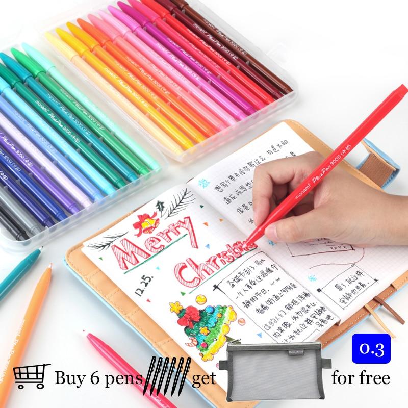 Korean Monami 3000 Felt Tip Drawing Pen 0.3 Mm Watercolor Pen Fineliner Scrapbook Color Ink Design Pen Cute Stationary Kawaii