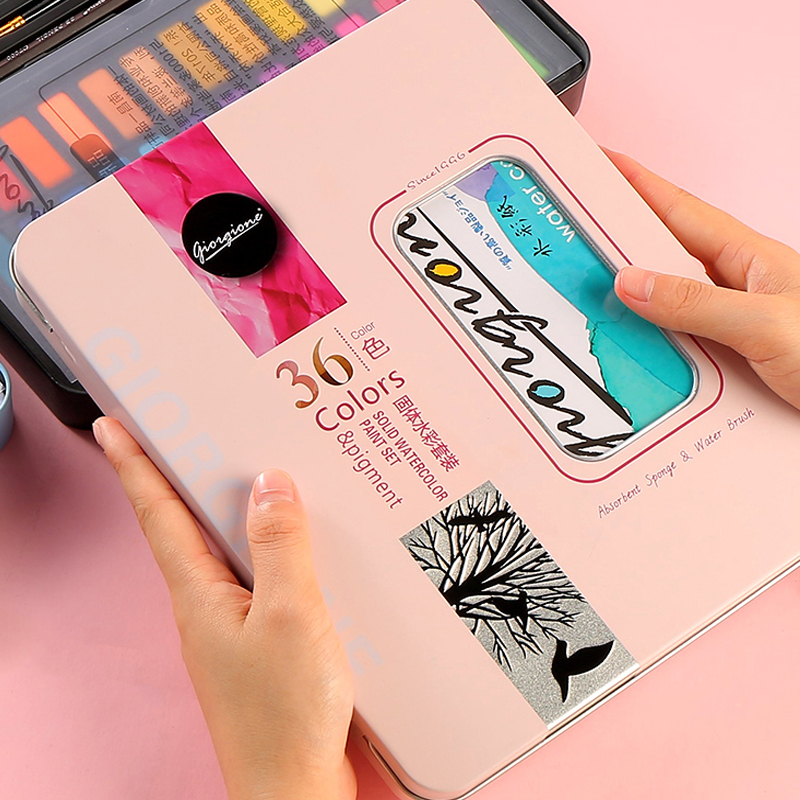 Solid watercolor paint 36 color blue / black / pink iron boxed painting tools beginner powder hand-painted art supplies