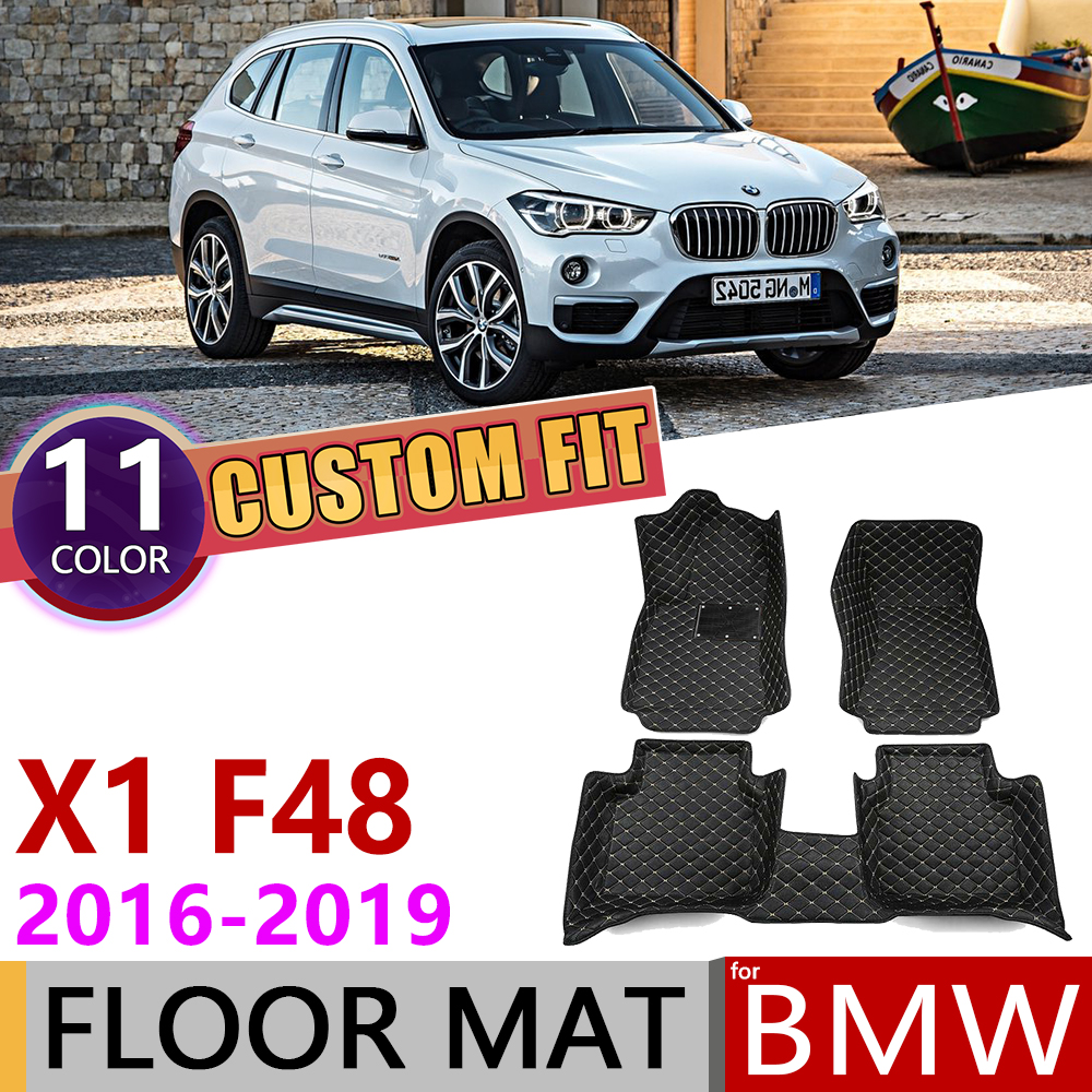 Custom Leather Car Floor Mats For BMW X1 F48 2016~2019 5 Seats Waterprool Auto Mat Foot Pad Carpet Accessories 2017 2018 2019