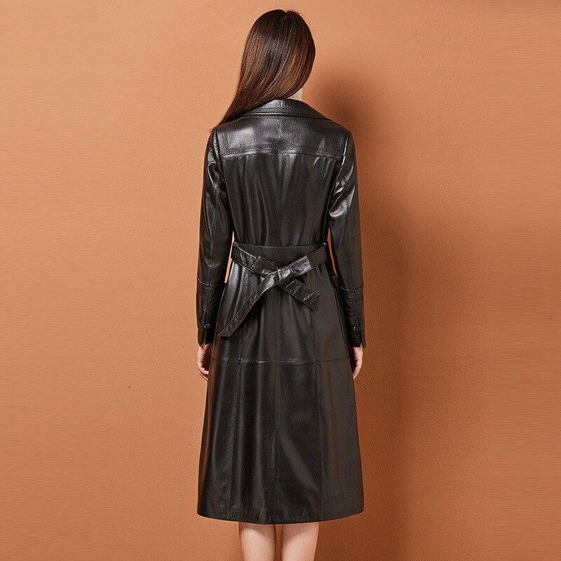 Womens Sheepskin Windbreaker Designer Winter Notched High Quality Leather Jacket Sashes Single Button Slim Black Long Coat Femme