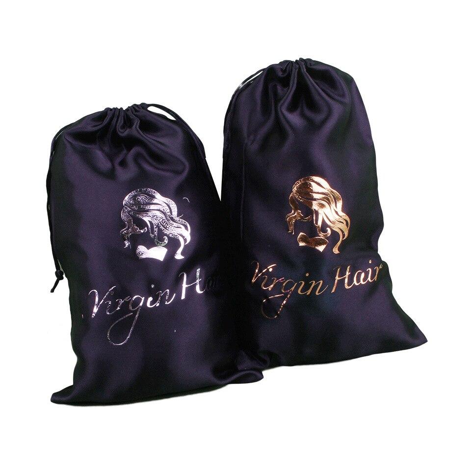 20PCS Custom Logo Satin Hair Bag Silk Packaging Bag For Makeup Lipgloss Lashes 12x16/15x20/18x30/30x40cm Drawstring Gift Bag