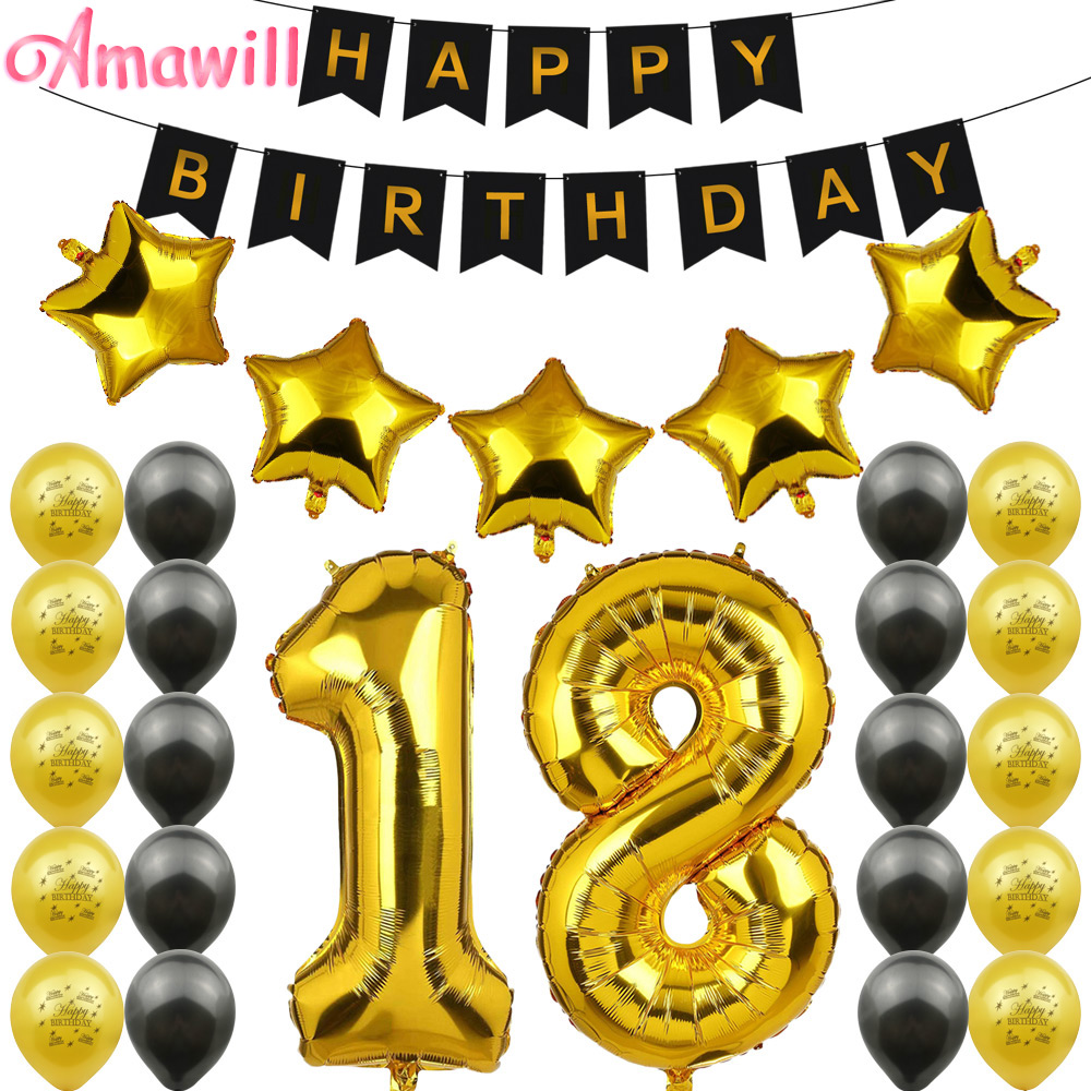 Amawill <font><b>18th</b></font> <font><b>Birthday</b></font> Party <font><b>Decorations</b></font> Kit Happy <font><b>Birthday</b></font> Balloon Banner Number 18 Mylar Foil Black Gold Latex Ballon 75D image