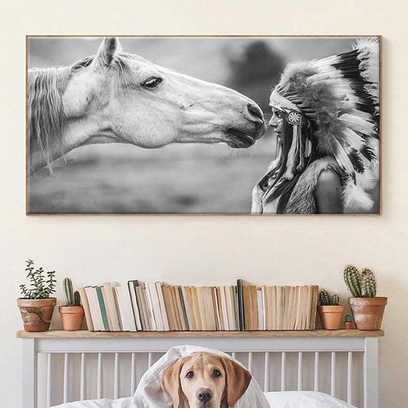 Картины на холсте с изображением индийской женщины и белой лошади, плакаты и принты, настенные картины, картины для декора комнаты, ресторан...