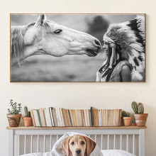 Indian Woman and White Horse Canvas Paintings Posters and Prints Wall Art Pictures Cuadros for Room Restaurant Decor