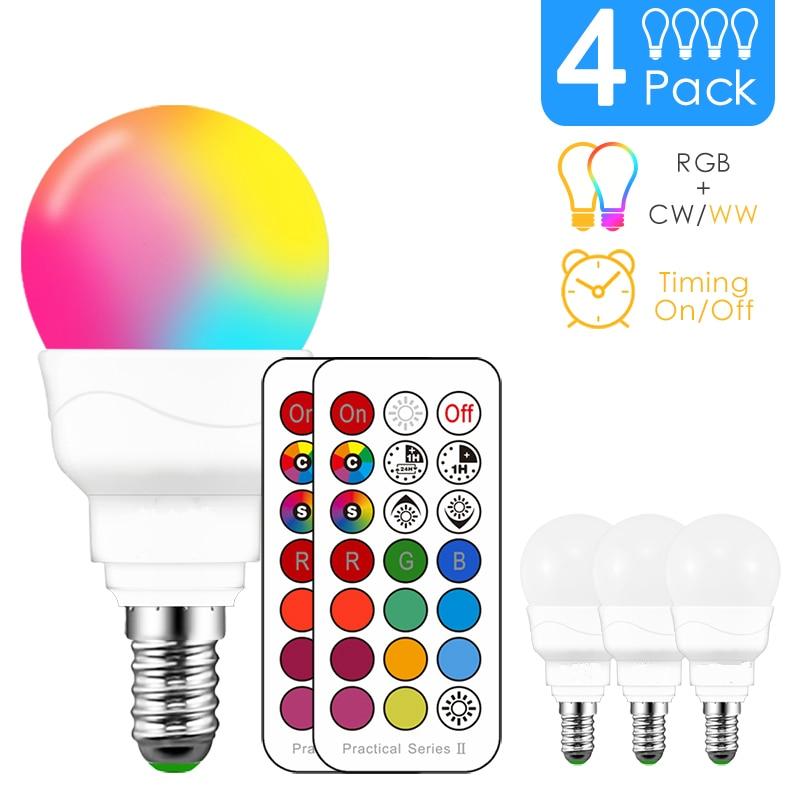 RGBW LED Light Bulb E14 Infrared Controller Smart Bulb Lamp Multicolor Dimmable Color Changing LED Night Light AC 110V/220V