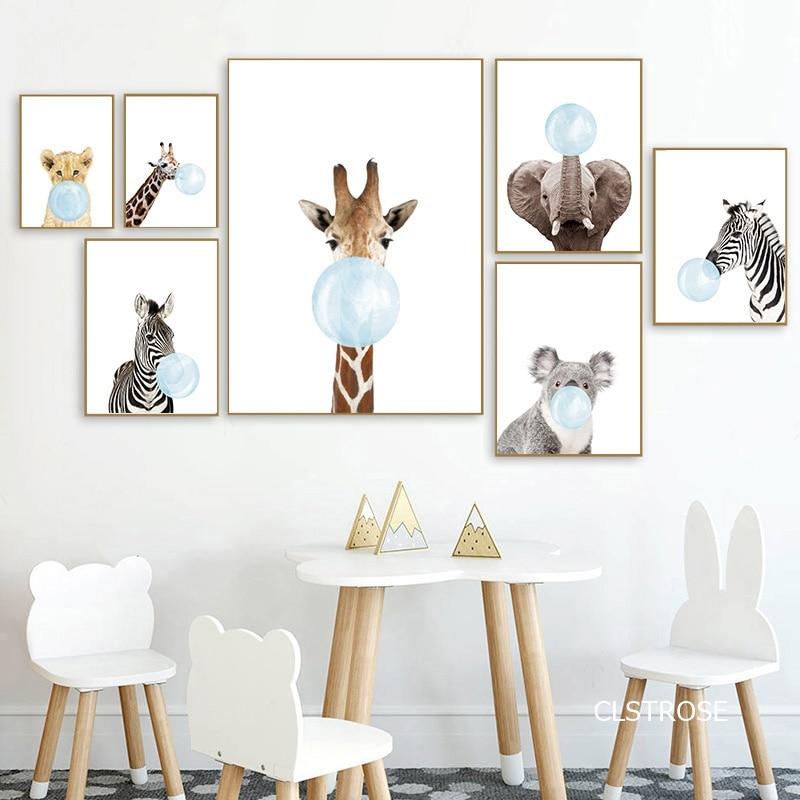 Красивые яркие детские животные, скандинавские плакаты в современном стиле, картины на холсте для гостиной, спальни, декоративная картина б...