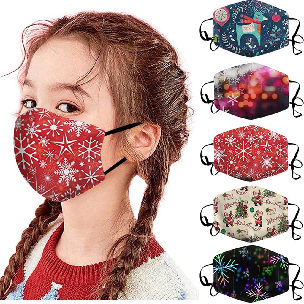 Children Reusable Mouth Mask Dustproof Windproof Face Cover Washable Breathable Mouth Caps Christmas Printed Mask mascarillas 1