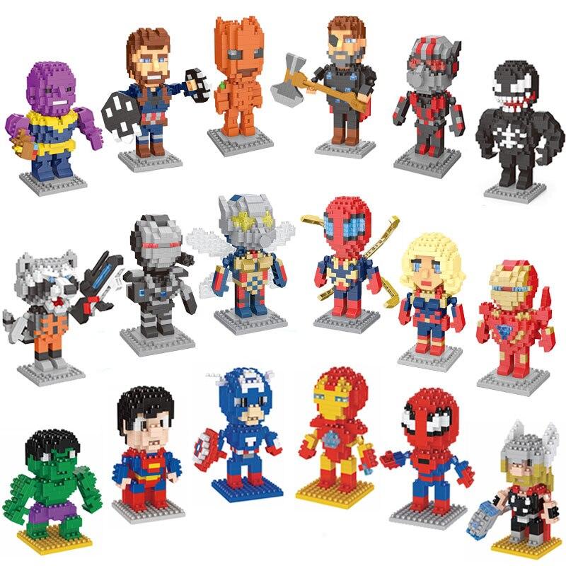 New Mini Block Super Hero Action Figures Micro-block Super Man Spiderman Black Panther Venom Diamond Building Block Toy For Kid