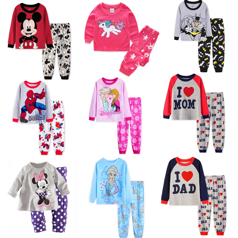 2018 Children pyjamas Kids clothes   sets   Baby girl boys clothes   pajamas   baby boys girls cartoon long sleeve T-shirt+Pants 2pcs