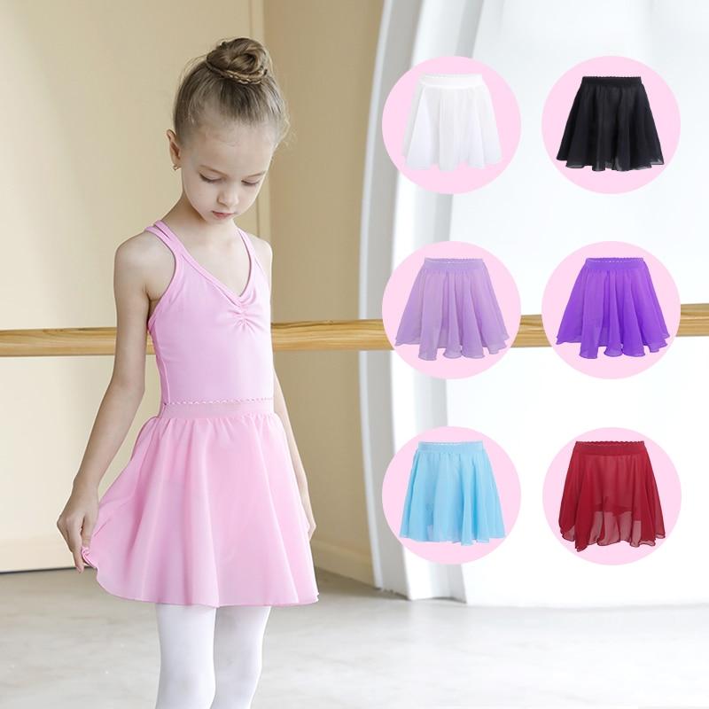 Girls Ballet Tutu Chiffon Dancing Skirt Children Professional Ballet Dance Leotard Skirt