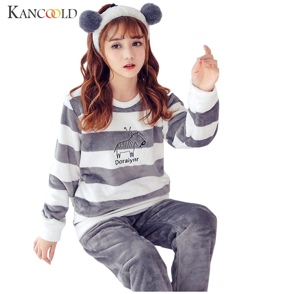 KANCOOLD Flannel Winter Women's Pajamas Set Women's Flannel Home Service Pajamas Set Home Service Winter Warm Suit