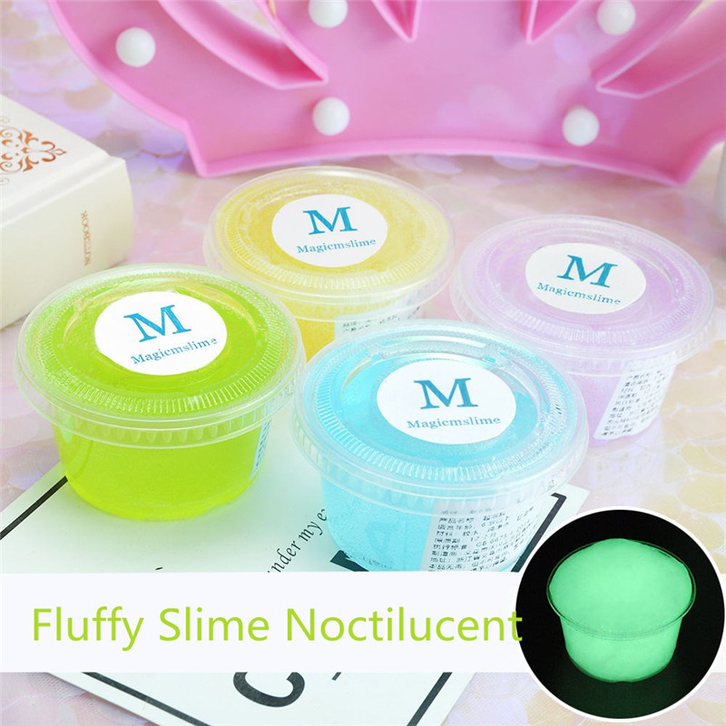 110ml Noctilucent Fluffy Slime Polymer Clay Super Light Soft Cotton Charms For Slime Kit Antistress Toys