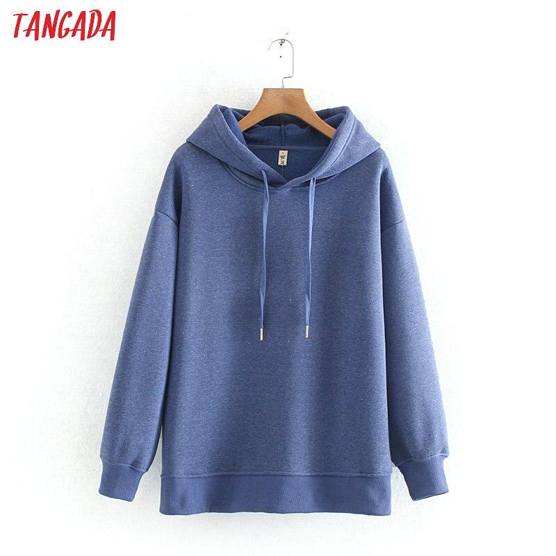 Tangada Women Blue Fleece Hoodie Sweatshirts Winter Japanese Fashion Oversize Ladies Pullovers Warm Hooded Tops 6L02