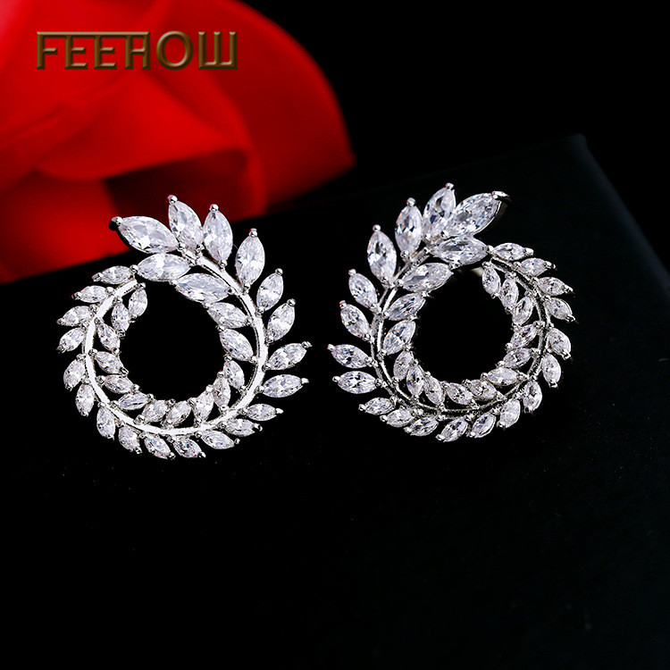 FEEHOW Fashion White Cubic Zirconia Stone Leaf Stud Earrings for Women Bridal Wedding Jewelry Factory Price FWEP455 in Stud Earrings from Jewelry Accessories