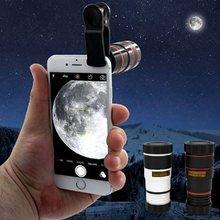 2020 novo 8x 12x universal zoom lente telefoto efeito zoom lente lente de alta definição longo foco monocular telefone telescópio para mob