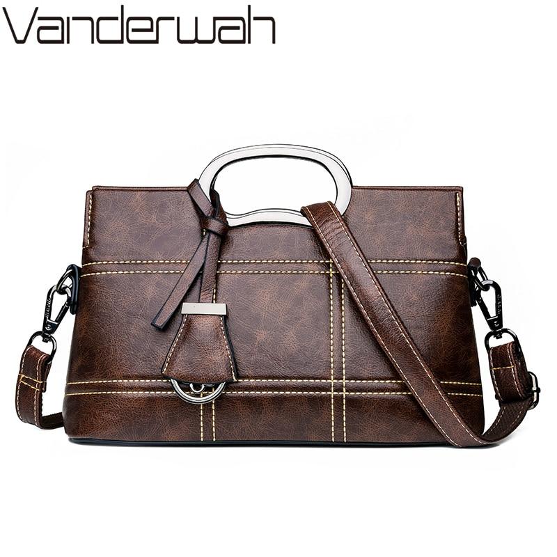 Vintage Leather Crossbody Bag Hand Bags For Women 2019 Designer Women Shoulder Messenger Bags Sac Ladies Handbags High Quality