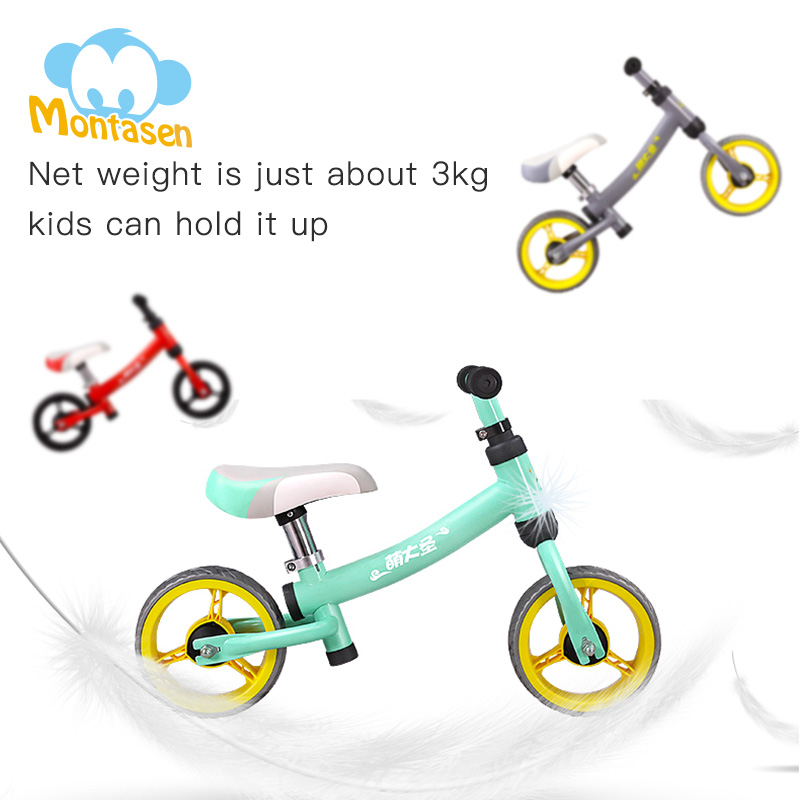 Montasen Children Push Bike for 1 5 3 Year Old Kids High Carbon Frame Balance Cycle Montasen Children Push Bike for 1.5- 3 Year Old Kids High Carbon Frame Balance Cycle for Boy Girls to Walk Mini Push Bicycle