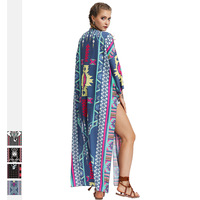 2019 New Beach Cover Up Bikini Mixed Color Printed Long Tassel Splicing Irregular Cover Up Sexy Beach Dress