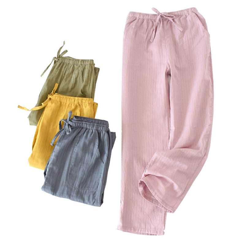 2020 Spring New Lovers Sleep Bottom Men And Women Comfort Gauze Cotton Pants Couples Solid Color Loose Thin Homewear Pants