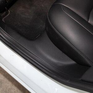 Image 4 - 4 sztuk samochodów skórzany przedni próg drzwi tylnych ochronne dla Tesla Model 3 2017 2020