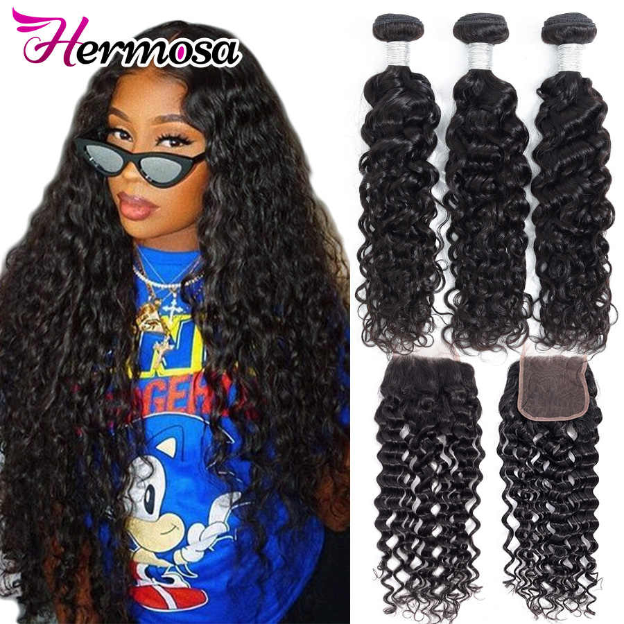Hermosa Hair Water Wave Bundles With Closure Brazilian Hair Weave Bundles With Closure Remy Human Hair 3 Bundles With Closure