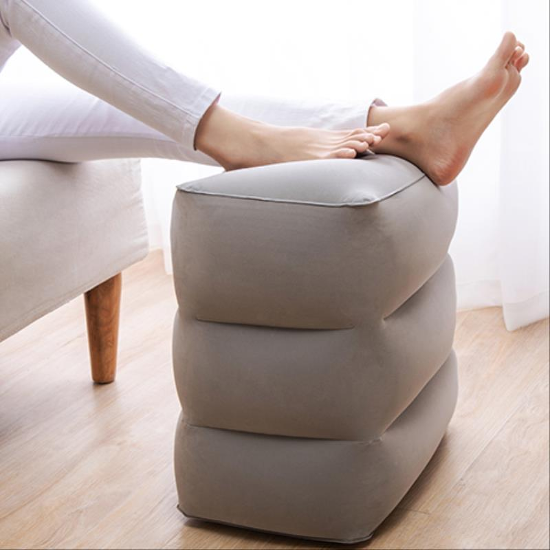 Inflatable Foot Pillow For Travel Foot Rest Airplane Car Bus Footrest Pillows Kids Flight Sleeping Resting Pillow With Air Pump