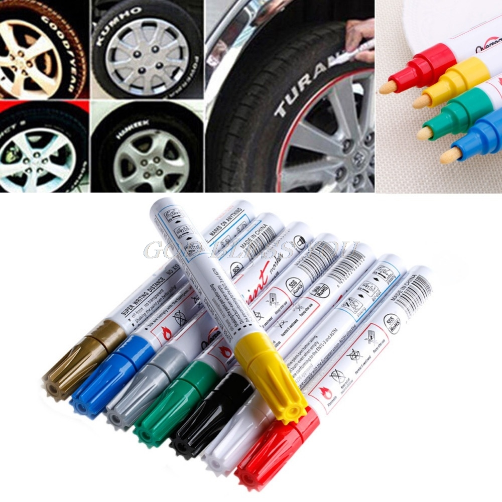 8 Colors Waterproof Pen Car Tyre Tire Tread Permanent Rubber Metal Paint Marker