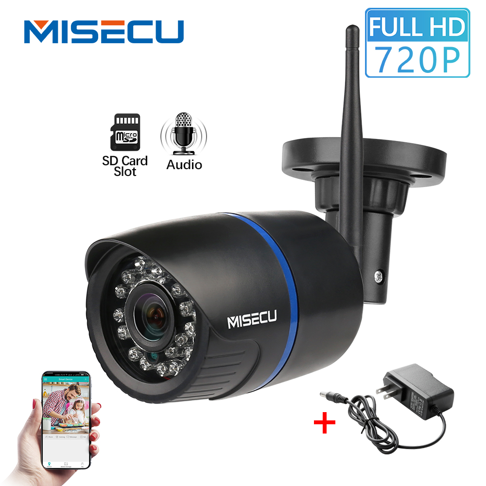 MISECU IP Camera Wifi 720P Audio Record Onvif Wireless Bullet Camera Outdoor Waterproof IP Security Surveillance SD Card Slot