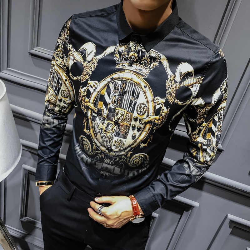 Talla grande 4XL negro oro estampado camisas 2019 nuevos hombres barrocos Slim Fit Fiesta Club Camisa hombres lujo largo camisa de manga larga