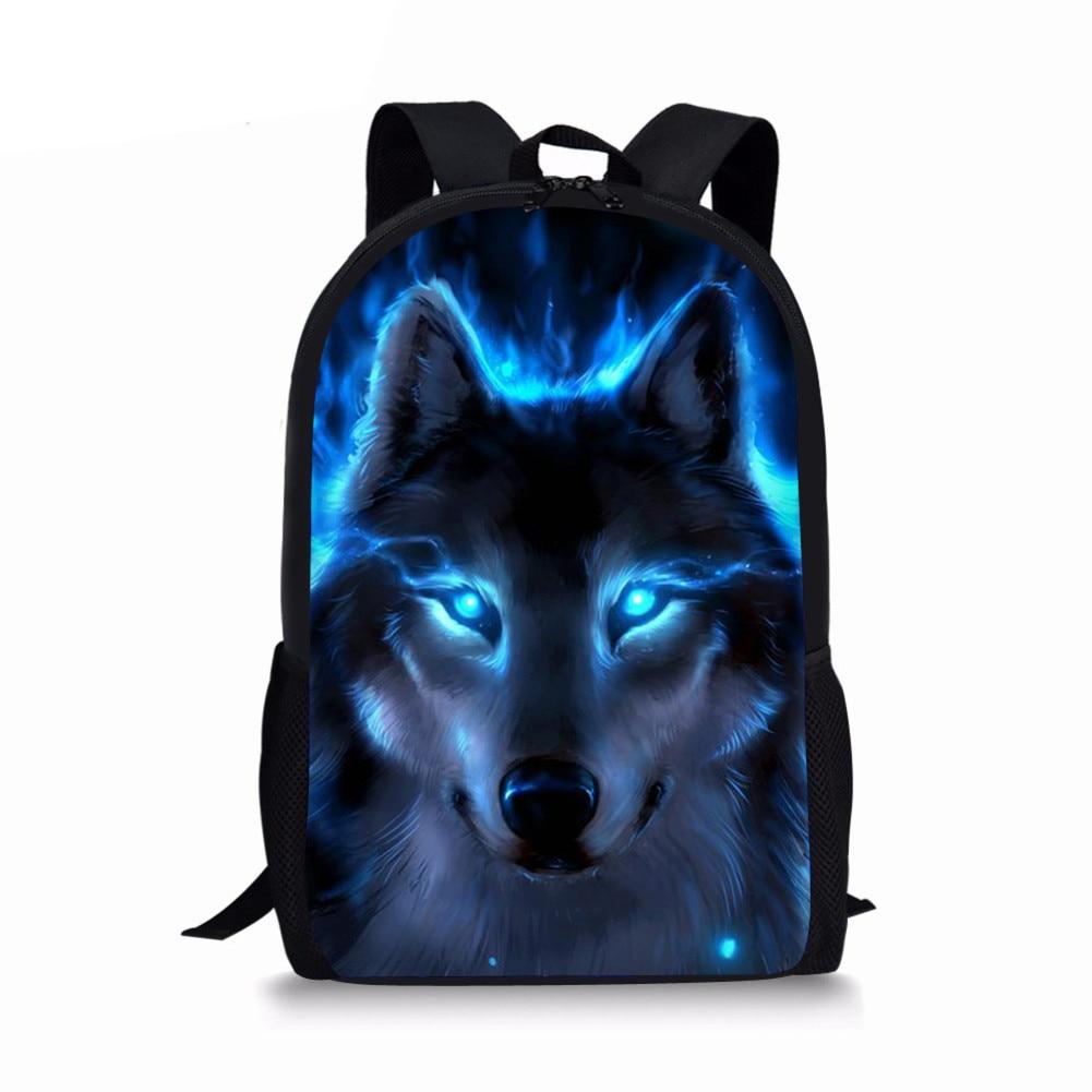 3D Wolf Print Schoolbags for Boys Girls Cool Primary Student Bookbags Kids School Bag Backpack mochila infanti