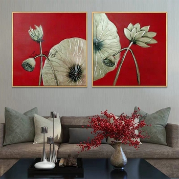 Newest Design Abstract Gold Foil Canvas Oil Painting Wall Art Pictures 2 Panel Wall Decor Gold Leaf Paintings For Living Room