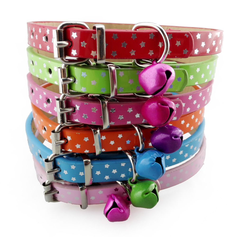 Batch Pu Highlights Bell Cat Dog Collar Pet Supplies Dogs And Cats Supplies