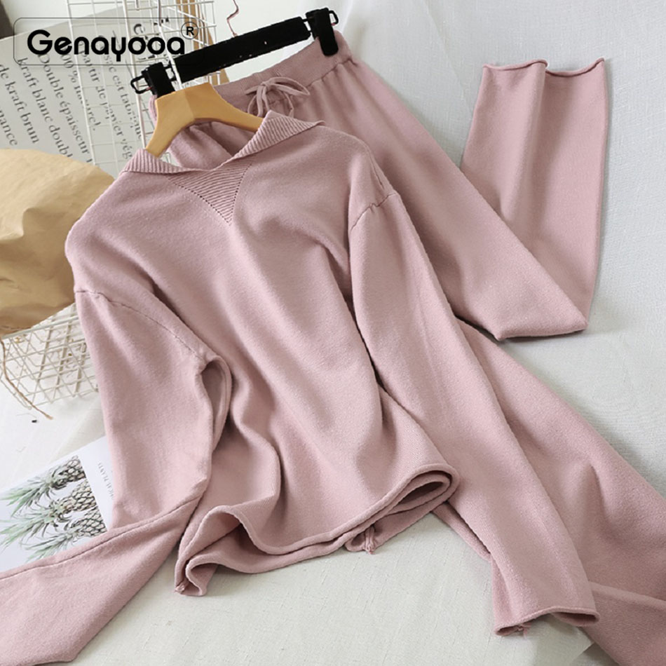 Genayooa High Quality Pink Tracksuit Women With Hoodies Knit Autumn Winter Two Piece Set Top And Pants Lady 2 Piece Set Women