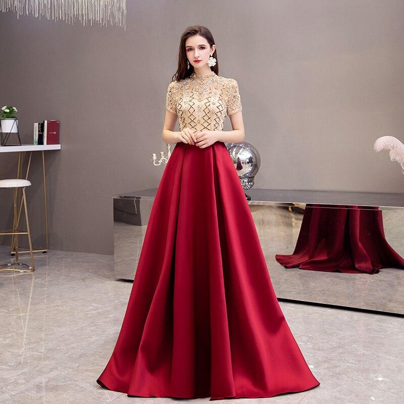 Красное вино вечерние платья с высоким воротом элегантные атласные длинные вечерние платья для выпускного вечера с прозрачной спинкой из