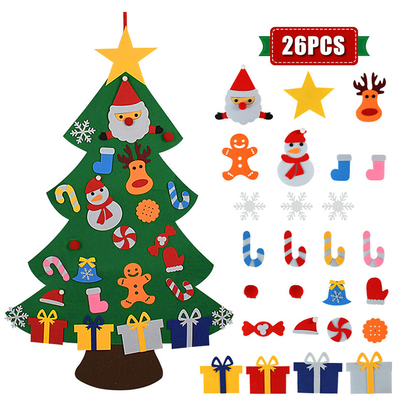 Kids DIY Felt Christmas Tree Christmas Decoration for Home Navidad 2021 New Year Gifts Christmas Ornaments Santa Claus Xmas Tree 4