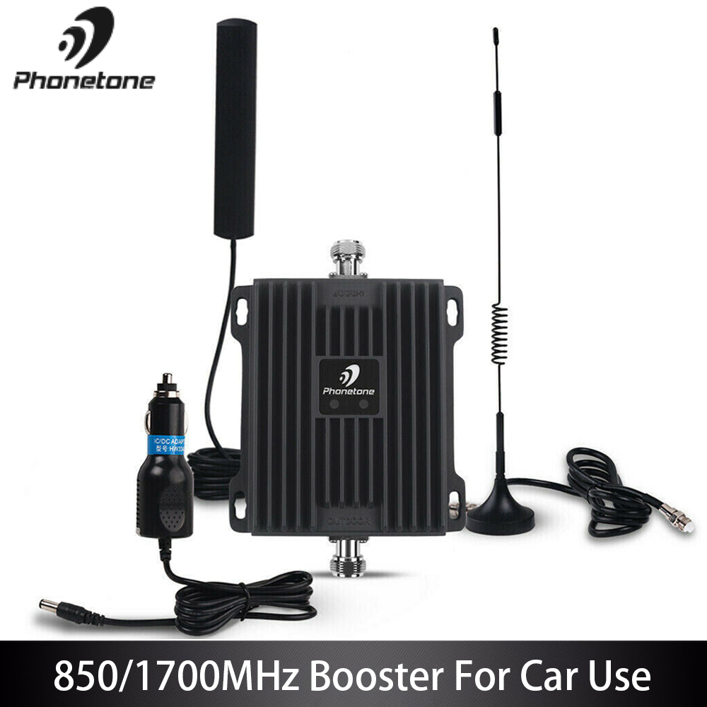 2G 3G 4G GSM Repeater Cell Phone Signal Booster 850/1700MHz Cellular Signal Repeater Mini Size Mobile Aignal Amplifier For Car