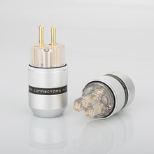 Audio Aluminum 24K Gold Plated Schuko EU Male Connector+IEC Female Plug