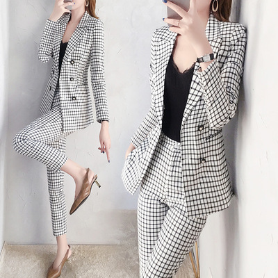 Chic Womens Plaids office Suits 2019 winter autumn Fashion Temperament Bussiness Pant Blazer Top And Pants Two Piece Set