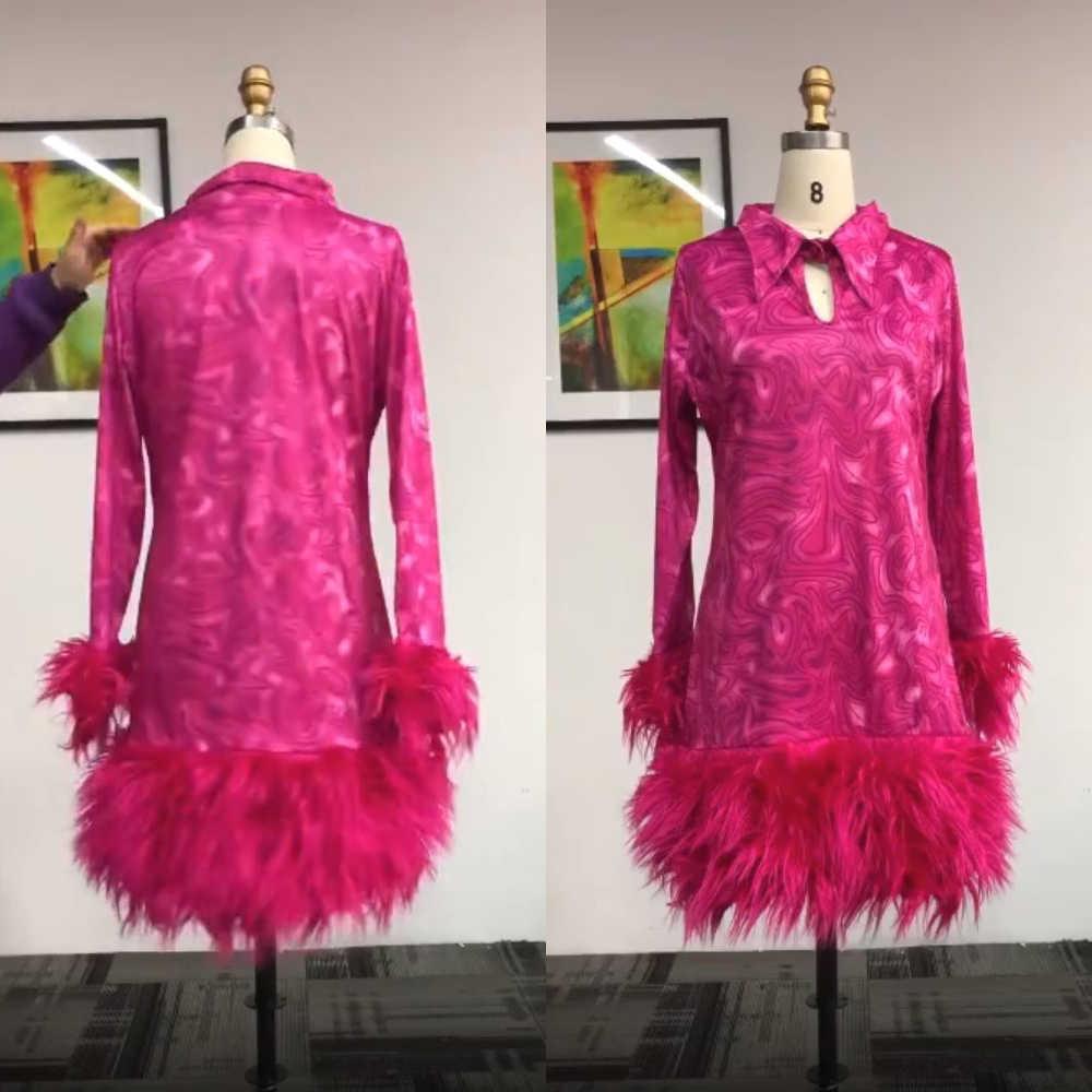 Feder Gedruckt Elegante Party Kleid Frauen Langarm Sexy Mini Cocktail Kleid Winter Frühling Plus Größe Kurze Abend Vestidos