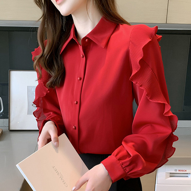 Korean Women Blouses Women Chiffon Blouse Shirts Woman Lantern Sleeve Shirt Woman Ruffles Blouse Office Lady Red Shirt Plus Size 1