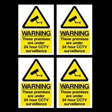 4x cctv sinal-24 horas vigilância a6 adesivos autoadesivos