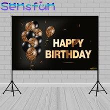 מותאם אישית שחור זהב שמח יום הולדת תפאורות צילום רקע הדפס מנומר בלוני קישוט באנר תא צילום Photozone