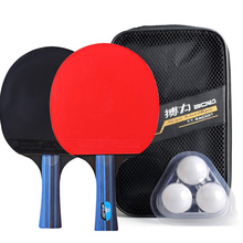 2pcs/lot Table Tennis Bat Racket Double Face Pimples In Long Short Handle Ping Pong Paddle Set With Bag 3 Balls