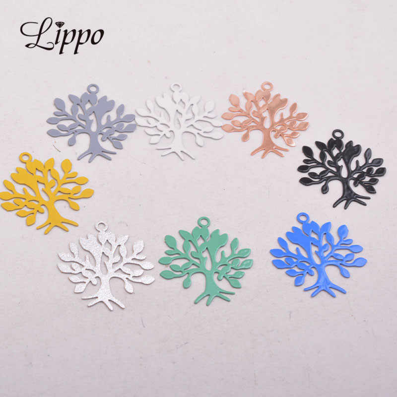 50pcs AC10554 22*23mm Laser Cut Tree Charm Rose Gold Plant Pendants Brass Trees  Charms Drop Earrings accessories
